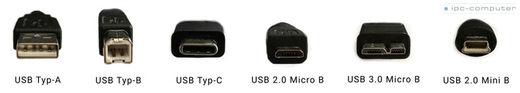 Vergleich der USB-Tpyen