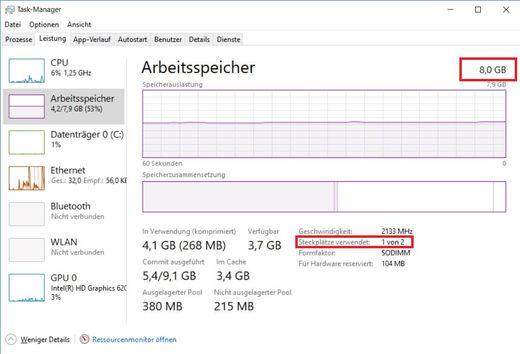 [Translate to Englisch:] Wie viel Arbeitsspeicher habe ich installiert Windows 10