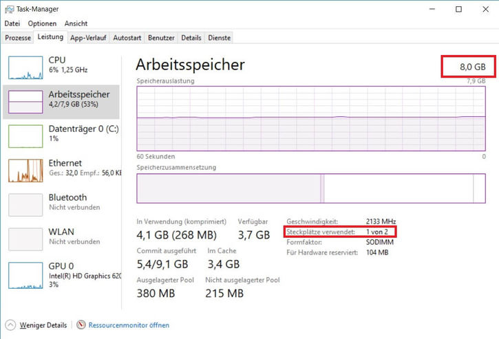Wie viel Arbeitsspeicher habe ich installiert Windows 10