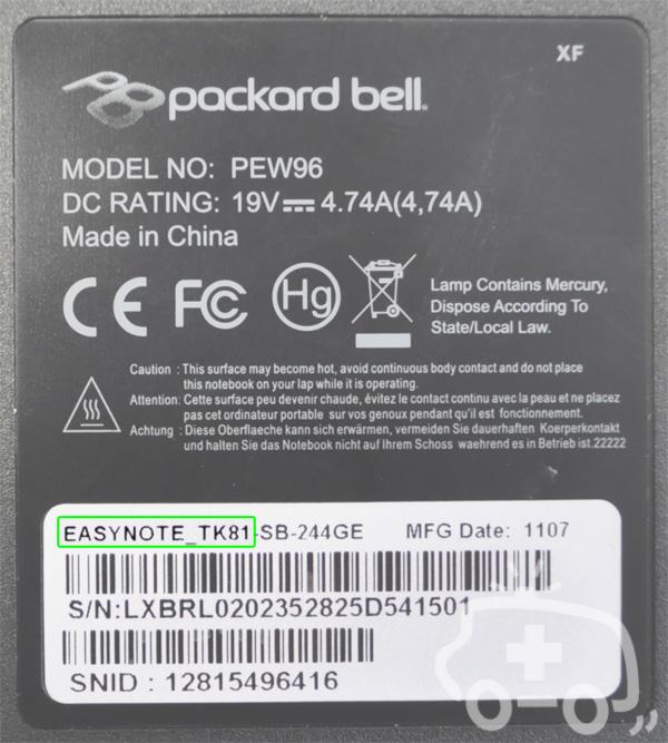 Packard Bell Modell identifizieren