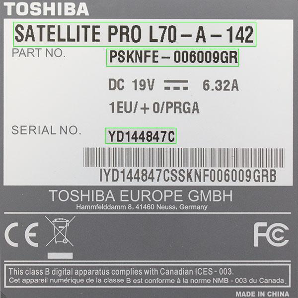 Identificar modelo de Toshiba